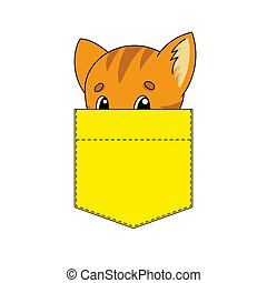 Cute character in shirt pocket. Cat animal. Colorful vector illustration. Cartoon style. Isolated on white background. Design element. Template for your shirts, stickers.
