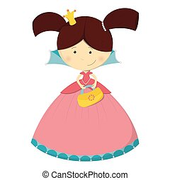 Cute character ? Princess with handbag in pink dress ? isolated on white background. Vector illustration.