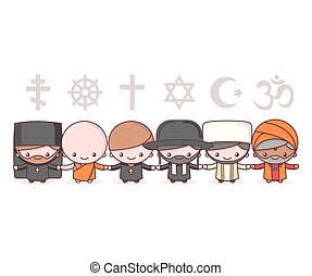 Cute characters. Judaism Rabbi. Buddhism Monk. Hinduism...