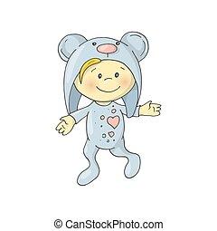 Cute charming cartoon boy in a pajamas costume a bear.