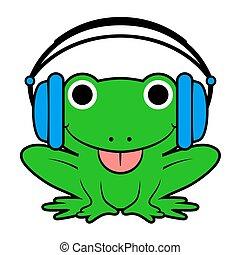 Cute cheeky green cartoon fog wearing headphones