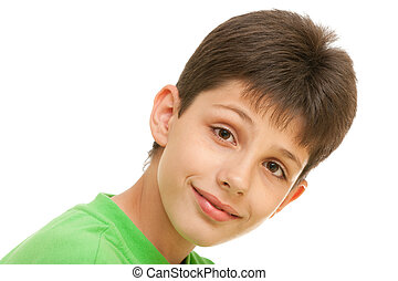 Cute cheerful boy - A portrait of a handsome smiling kid in...