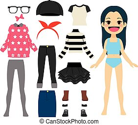 Cute Cheerful Paper Doll