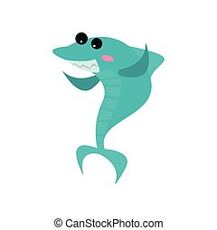 Cute cheerful shark cartoon character, funny blue fish vector Illustration