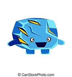Cute cheerful surprised blue rock element. Cartoon emotions...