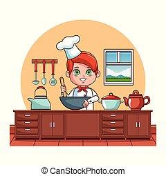 Cute chef boy