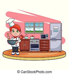 Cute chef boy