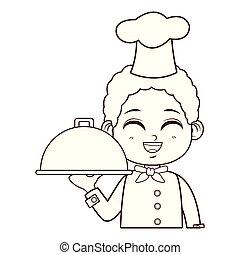 cute chef boy cartoon