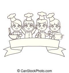 cute chef children cartoon