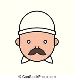 Cute chef head filled outline icon, editable stroke