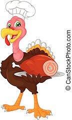 cute chef turkey bird cartoon