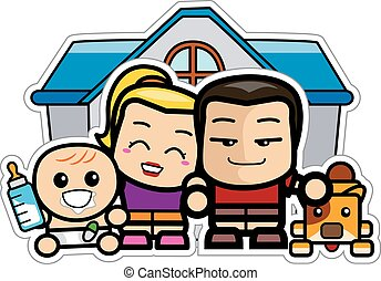 Cute Chibi Family with Dog