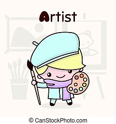 Cute chibi kawaii characters. Alphabet professions. Letter A - Artist.