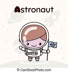Cute chibi kawaii characters. Alphabet professions. Letter A - Astronaut