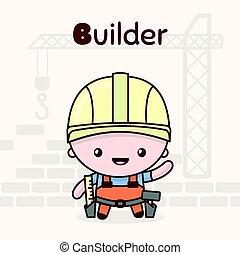 Cute chibi kawaii characters. Alphabet professions. Letter B - Builder