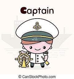 Cute chibi kawaii characters. Alphabet professions. Letter C - Captain