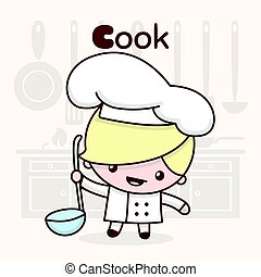Cute chibi kawaii characters. Alphabet professions. Letter C - Cook.