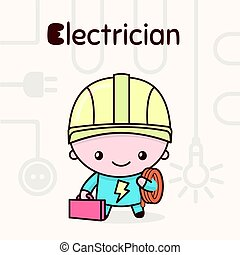 Cute chibi kawaii characters. Alphabet professions. Letter E - Electrician