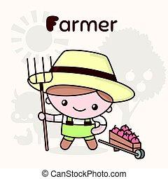 Cute chibi kawaii characters. Alphabet professions. Letter F - Farmer.