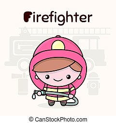 Cute chibi kawaii characters. Alphabet professions. Letter F - Firefighter