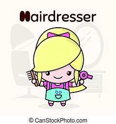 Cute chibi kawaii characters. Alphabet professions. Letter H - Hairdresser