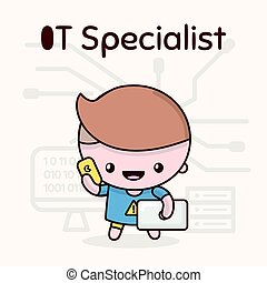 Cute chibi kawaii characters. Alphabet professions. Letter I - IT-Specialist. Flat style