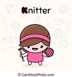 Cute chibi kawaii characters. Alphabet professions. Letter K - Knitter