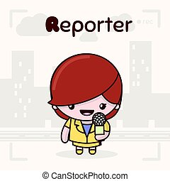 Cute chibi kawaii characters. Alphabet professions. Letter R - Reporter