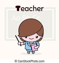 Cute chibi kawaii characters. Alphabet professions. Letter T - Teacher