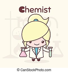 Cute chibi kawaii characters. Alphabet professions. The Letter C