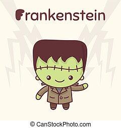 Cute chibi kawaii characters Halloween set. Merry Frankenstein against the backdrop of lightning. Flat cartoon style