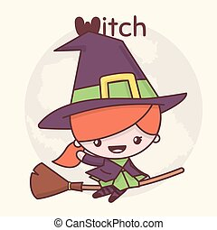 Cute chibi kawaii characters Halloween set. Witch on a broomstick in the background of the moon. Flat cartoon style