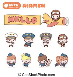 Cute chibi kawaii characters profession set: Airmen.