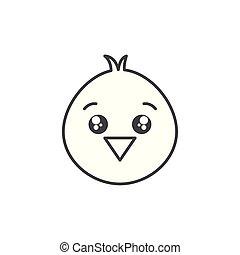 cute chick animal farm line style icon