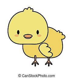 cute chick baby kawaii, line and fill style icon