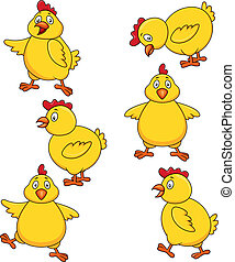 Cute chicken cartoon set - Vector illustration of cute...