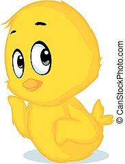 cute chicken cartoon - vector illustration