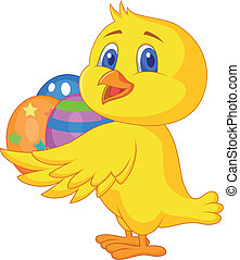 Cute chicken cartoon with easter eg - Vector illustration of...