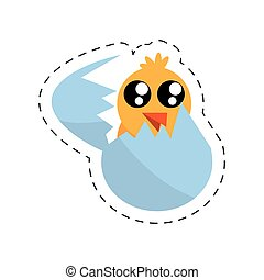 cute chicken easter egg broken - cut line