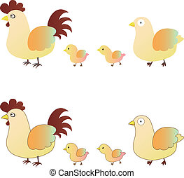 cute chicken family