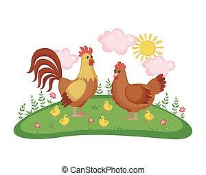 Cute Chicken family.