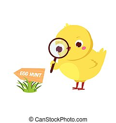 Cute chicken going to Easter egg hunt. Cartoon funny chick with magnifier. Isolated character for spring seasonal design