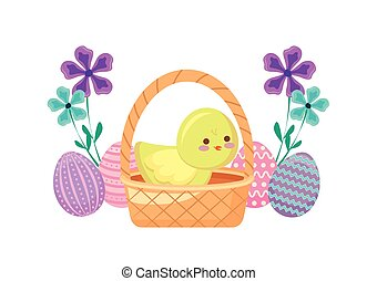 cute chicken in basket wicker with eggs of easter and flowers