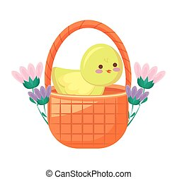 cute chicken in basket with flowers