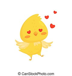 Cute chicken in love, funny bird cartoon character with happy eyes vector Illustration on a white background