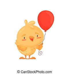 Cute chicken with a balloon. Vector illustration on white background.