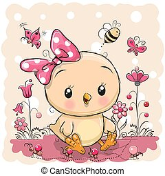 Cute Chicken with flowers and butterflies