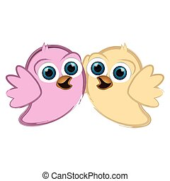Cute chickens couple