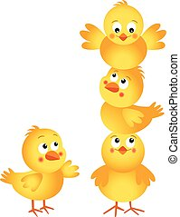 Cute chicks stacked on top of each
