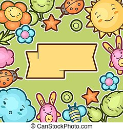 Cute child background with kawaii doodles